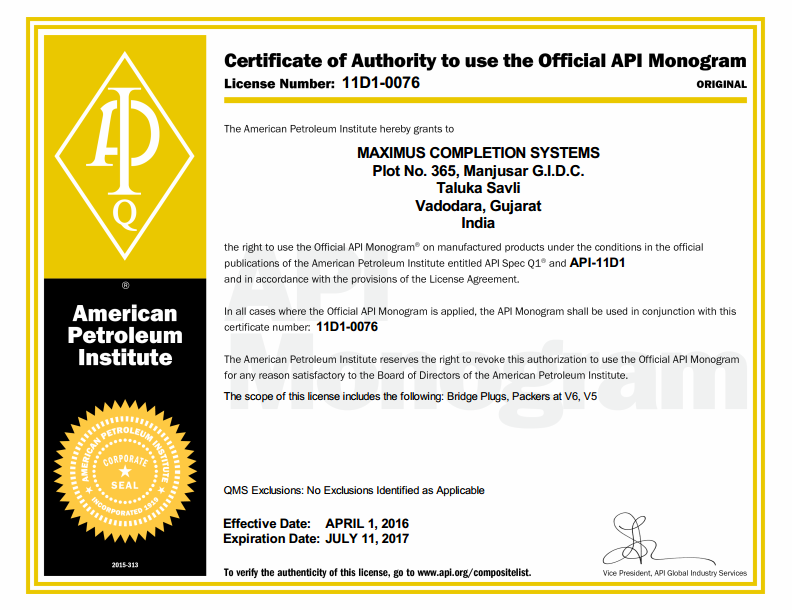 API Certification 11D1