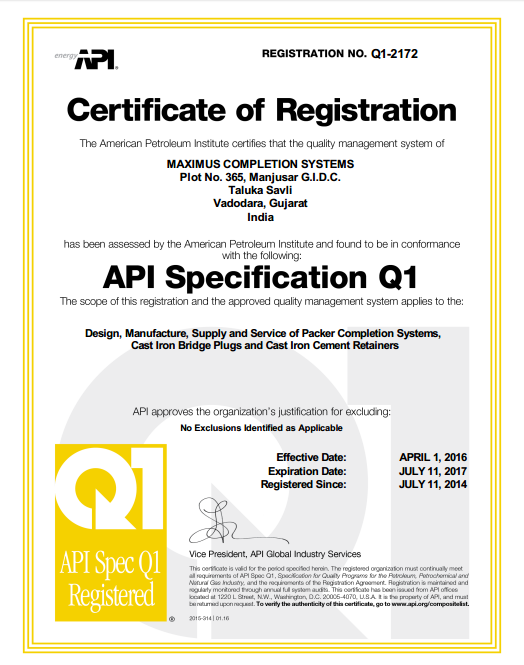 API Certification Q1